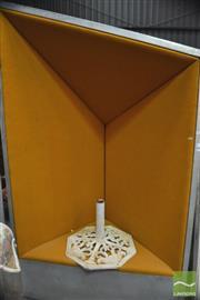Sale 8310 - Lot 1010 - Large Metallic Framed Chair with Orange Velvet Upholstery