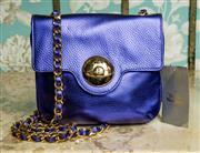Sale 8420A - Lot 83 - An authentic Vivienne Westwood Viola leather handbag, featuring vibrant viola colourway, gold plated Vivienne Westwood logo clasp, g...