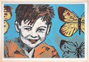 Sale 8459 - Lot 546 - David Bromley (1960 - ) - Boy with Butterflies 60 x 91cm