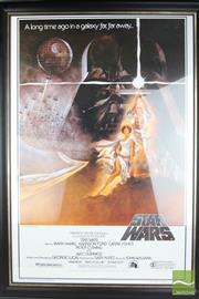 Sale 8490 - Lot 315 - Set of Three Framed Star Wars Posters 1993 Issue- (Star Wars, Return Of The Jedi And Empire Strikes Back)
