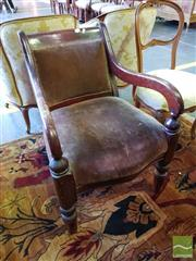 Sale 8539 - Lot 1086 - 19th Century Cedar Armchair, with pink velvet upholstery & turned legs