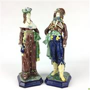 Sale 8562R - Lot 98 - Antique German Pair of C19th Hugo Lonitz Ceramic Figures (H: 32cm)