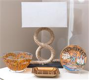 Sale 8593A - Lot 31 - A group of items including a rope support table lamp, a beaded basket, and sundry plates