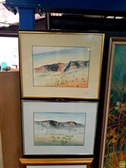 Sale 8627 - Lot 2001 - Roy Dargow (2 works) MacDonell Ranges, mixed media on paper, each 25.5 x 35.5cm & signed lower right