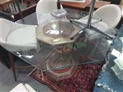 Sale 8657 - Lot 1093A - Glass Top Occasional table over Hexagonal Base