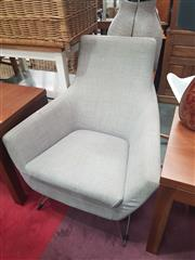 Sale 8669 - Lot 1041 - Oversized Linen Upholstered Armchair