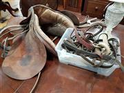 Sale 8717 - Lot 1042 - Vintage Horse Saddle and Stirrups