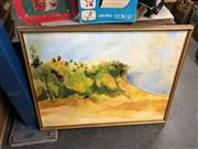 Sale 8833 - Lot 2089 - Nanette Basser Desert Landscape oil painting, together with a Portrait of a Mother and Chile by Marion Purvis and a Decorative Print
