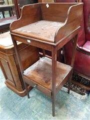 Sale 8868 - Lot 1113 - Small 19th Century Mahogany Washstand, with gallery back & shelf below fitted with a drawer & removable top