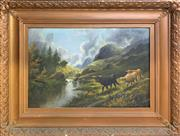 Sale 8961 - Lot 2050 - An C19th oil painting of The Highlands and Grazing Cattle, 79 x 104cm (frame)