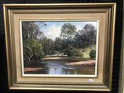 Sale 9024 - Lot 2024 - John Emmett (1927 - ) Bushland Reflections, Megalong Valley oil on board, 45 x 55cm (frame), signed -