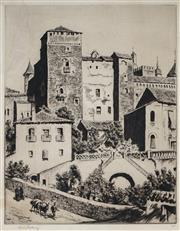Sale 9047 - Lot 585 - Lionel Lindsay (1874 - 1961) - Guadalupe, Spain 27 x 20.5 cm (frame: 48 x 40 x 2 cm)