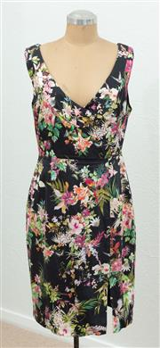 Sale 9066H - Lot 90 - An Alannah Hill wrap front sleeveless dress with a tropical design on black ground, Size Aus 14
