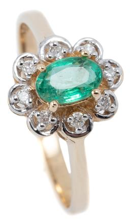 Sale 9115 - Lot 365 - A 9CT GOLD EMERALD AND DIAMOND CLUSTER RING; centring on an oval cut emerald within a scalloped surround set with 8 round brilliant...