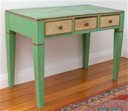 Sale 9191H - Lot 85 - Rustic painted timber three drawer dresser , H 78 x W 105 x 55 cm
