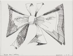 Sale 9221JM - Lot 5025 - CHARLES BLACKMAN (1928 - 2018) Alices Bow - Butterfly , 1987 original ink on paper 30.5 x 40 cm (frame: 45 x 55 x 2 cm) signed and ...