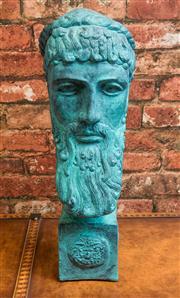 Sale 8420A - Lot 68 - A verdigris head of Zeus, measurements: 49cm high, composition: plaster & fiberglass, condition: new
