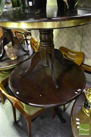 Sale 8472 - Lot 1083 - Pair of Round Timber Table on Single Pedestal Base