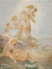 Sale 8519 - Lot 554 - Norman Lindsay (1879 - 1969) - The Magic Flute 32 x 24.5cm