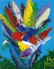 Sale 8526 - Lot 571 - Kevin Charles (Pro) Hart (1928 - 2006) - Floral Study, c1980s 11.5 x 9.5cm