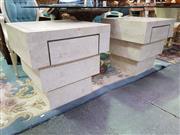 Sale 8657 - Lot 1092 - Pair of Faux Stone Bedsides