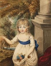 Sale 8675 - Lot 592 - Artist Unknown (Early C19th) - Portrait of a Young Girl 27.5 x 21cm (frame: 73 x 63cm)