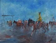 Sale 8751 - Lot 2028 - Ewald Rishe (1945 - 2010) - Stockmen on the move 9 x 12cm