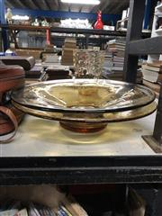 Sale 8766 - Lot 68 - Collection of Amber Colour Whitefriars Glass Ware inc Large Bowls