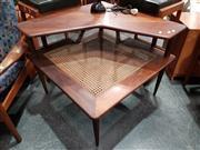 Sale 8782 - Lot 1032 - Teak Corner Coffee Table with Rattan Shelf