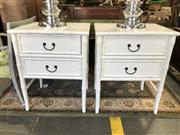 Sale 8822 - Lot 1518 - A Pair of White Bamboo Style Bedside Drawers
