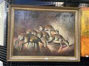 Sale 8995 - Lot 2009 - C Montgomery Gazelle oil on board, 53 x 68cm (frame) signed