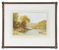 """Sale 9080H - Lot 72 - Original Watercolour """"Australian River Landscape"""" Gerald Ansdell signed lower right c 1920, 20cm x 29cm"""