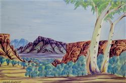 Sale 9093A - Lot 5007 - Arnulf Ebataringa (1931 - 1998) - Central Australian Landscape 34 x 51 cm (frame: 60 x 76 x 4 cm)