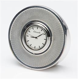 Sale 9255H - Lot 44 - A Christofle silver-plated circular desk clock with engine turned design, Diameter 8.5cm, RRP $450.