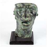 Sale 8575J - Lot 50 - A bronze mask mounted on black metal base after Rodin, height 30cm