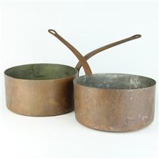 Sale 8351A - Lot 13 - Pair of French Copper Saucepans diameter 24cm depth 12cm(approx weight 4kg)