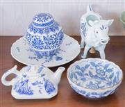 Sale 8369A - Lot 31 - Four pieces of blue and white wares including Japanese teapot and bowl