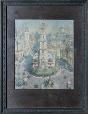 Sale 8375A - Lot 122 - Henry Charles Brewer (1866 - 1950) - London Scene 29 x 24cm