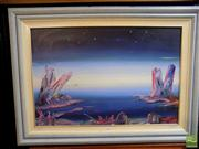 Sale 8410T - Lot 2097 - Rick Badger (XX) - Pink Crystal World 50 x 75.5cm