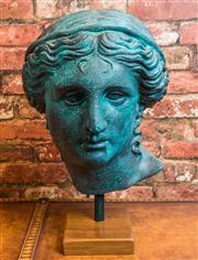 Sale 8420A - Lot 7 - A verdigris head of Aphrodite on timber plinth, measurements: 48cm high, composition: plaster & fiberglass. condition: new