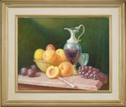 Sale 8443A - Lot 5005 - Clive Wilbow (1908 - 1976) - Still Life with Fruit and Ewer 39.5 x 49.5cm