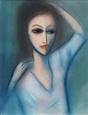 Sale 8492 - Lot 558 - Robert Dickerson (1924 - 2015) - Portrait in Blue 35.5 x 27cm