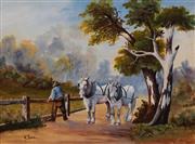 Sale 8659 - Lot 2014 - W Payne (C20th) - Mending the Fence 27 x 37cm