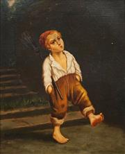 Sale 8683 - Lot 581 - Artist Unknown (C19th) - Boy Sweeper Strolling 36 x 28cm