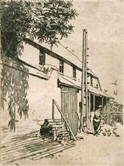 Sale 8696A - Lot 5040 - Lionel Lindsay (1874 - 1961) - Stables Windsor 17.5 x 13cm