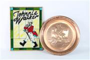 Sale 8748 - Lot 6 - Copper Johnnie Walker Circular Plaque (Dia 34cm) Together with A Leadlight Panel Example ( 28cm x 38cm)