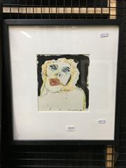 Sale 8776 - Lot 2038 - Murray Walker - Portrait 1975 mixed media, 39 x 37cm (frame), signed -