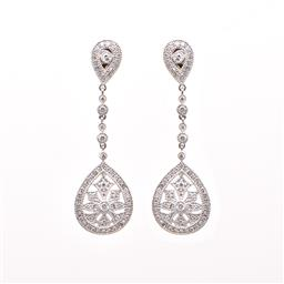 Sale 8858H - Lot 24 - 1.75ct diamond drop earrings in 18ct white gold; the four largest diamonds total 0.58cts, with the surrounding 66 diamonds totalling...