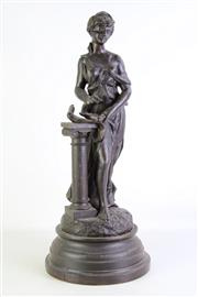 Sale 8935 - Lot 53 - A Large Decorative Possibly Spelter Figure of a Lady, Leaning Against a Plinth H:67cm (Some Wear To Patina)