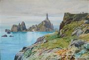 Sale 9047A - Lot 5075 - Charles F. Robinson (1893 - 1968) - La Corbiere Lighthouse, Jersey 29.5 x 44.5 cm (frame: 57 x 73 x 6 cm)